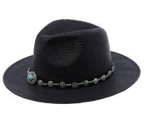 ELISA Strohhut mit Perlenband in Schwarz