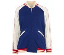 College-Jacke im Materialmix mit Stickerei in Blau-Weiß-Rot