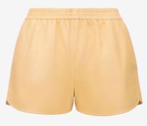 Shorts Aus Lammnappaleder Beige