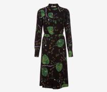 Kleid Mit Herbstlaub-Print Schwarz