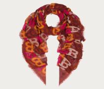 Schal Mit Durchgehendem Bally-B-Design Aus Woll-Seidenetamine (140 X 200 Cm) Orange
