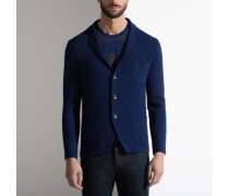 Strickblazer Mit Button-Down-Kragen Blue