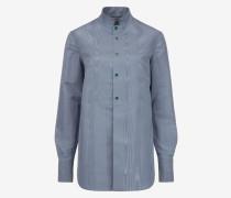 Bluse Mit Mandarinkragen Blau