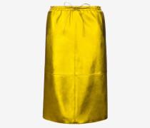 Nappalederrock In Metallic-Optik Gelb