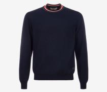 Pullover Mit Rundhalsausschnitt Und Kontrastkragen Blau