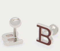 B Enamel Cufflinks Metallic