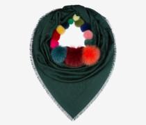 Halstuch Mit Bally-Wappen Und Fellbommeln Grün