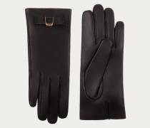 Lederhandschuhe Mit Zierschleife Black