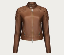 Schmale Lederjacke Brown