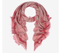 Halstuch Mit Bally-B-Motiv Und Fransen Aus Seide Und Wolle In Jacquard-Optik (140 X 140 Cm) Rot
