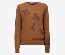 Pullover Mit Buchstaben-Stickerei Braun