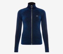 Lurex-Cardigan Im Joggingstil Mit ReiBverschluss Blau