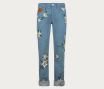 Jeans Mit Schweizer Gebirgsblumenstickerei Blue