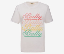 Bally T-Shirt Mit Kursivschrift Im Farbverlauf WeiB
