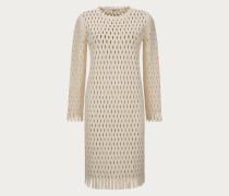 Langärmliges Kleid Mit Perforation White