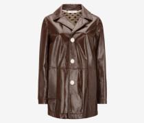 Leather Mac Coat Braun