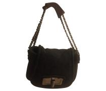 Second Hand Flap Bag aus Wildleder in Schwarz