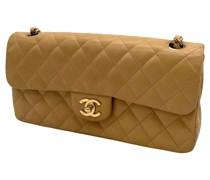 Second Hand Classic Flap Bag aus Leder in Beige