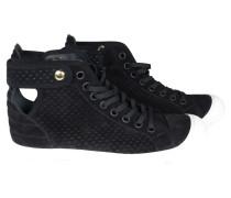 Second Hand Sneakers aus schwarzem Veloursleder