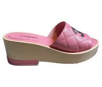 Second Hand Sandalen aus Leder in Rosa / Pink