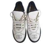 Second Hand Sneakers aus Leinen in Beige