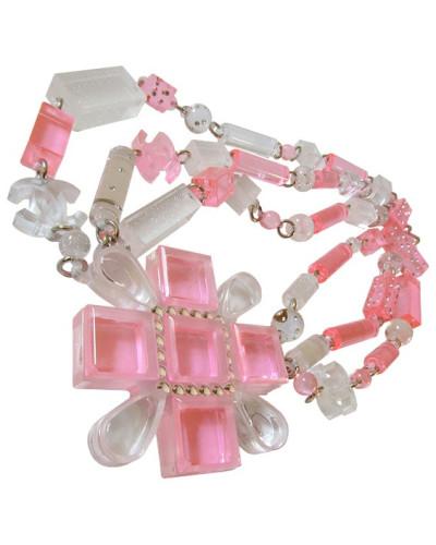 Second Hand  CHANEL Bubblegum Pink KREUZ KETTE mit Sternenstaub & Swarovski Perlen