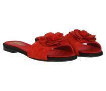 Second Hand Slipper/Ballerinas aus Leder in Rot