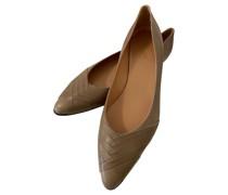 Second Hand Slipper/Ballerinas aus Leder in Khaki