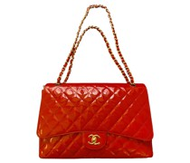 Second Hand Classic Flap Bag Jumbo aus Lackleder in Rot