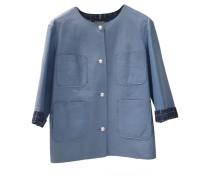 Second Hand Jacke/Mantel aus Leder in Blau