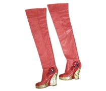 Second Hand Stiefel aus Leder in Rot