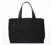 Second Hand Handtasche aus Canvas in Schwarz