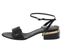 Second Hand Sandalen aus Lackleder in Schwarz
