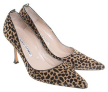 Second Hand Echtfell-Pumps mit Leoparden-Print