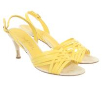 Second Hand Sandalen aus Leder in Gelb
