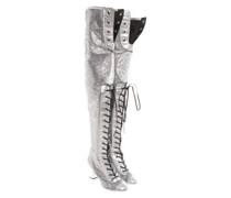 Second Hand Stiefel aus Leder in Silbern