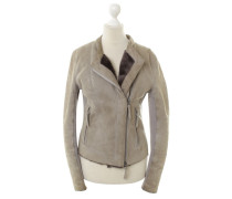 Second Hand  Lederjacke in Taupe