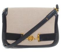Second Hand Vintage Handtasche in Beige/Blau