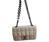 Second Hand Classic Flap Bag Mini Rectangle aus Seide in Weiß