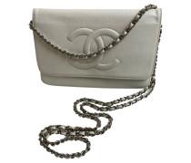 Second Hand Flap Bag aus Leder in Weiß