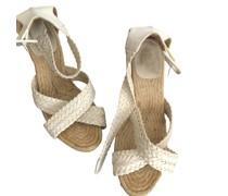 Second Hand Sandalen aus Leder in Weiß