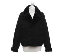 Second Hand Jacke/Mantel aus Wildleder in Schwarz