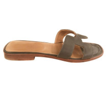 Second Hand Sandalen in olijf/taupe