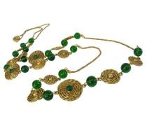 Second Hand ~Pariser Glamour~ Vintage CHANEL - Medaillons & grüne GRIPOIX Sautoir-Kette - 121cm lang