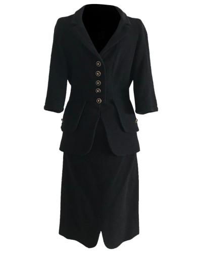 Second Hand  Anzug aus Wolle in Schwarz