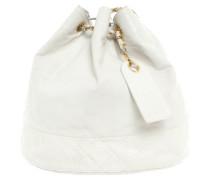Second Hand Handtasche aus Leder in Beige