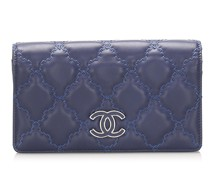 Second Hand Täschchen/Portemonnaie aus Leder in Blau