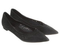 Second Hand  Wildleder-Ballerinas in Schwarz