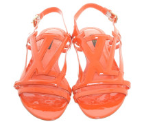 Second Hand Lackledersandalen in sattem Orange
