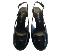 Second Hand Slingback-Pumps aus Lackleder